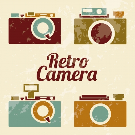 vintage camera: retro camera over brown background illustration