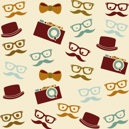 cartoon human faces  with hipster elements, pattern Illustration