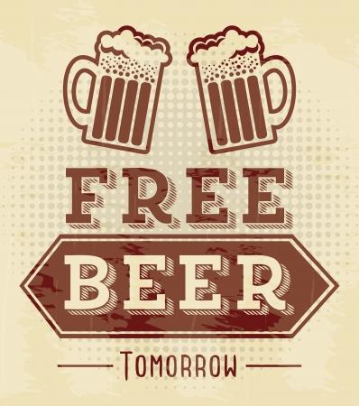free beer tomorrow illustration, vintage style illustration Vector