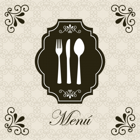 vintage cutlery: vintage card over retro background illustration