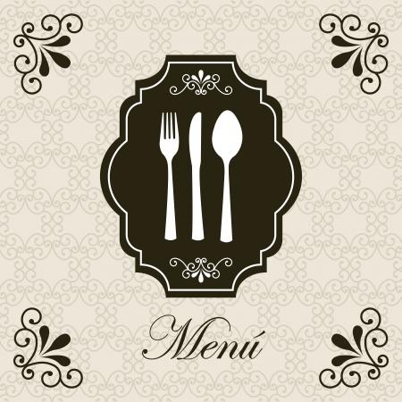 knife and fork: vintage card over retro background illustration