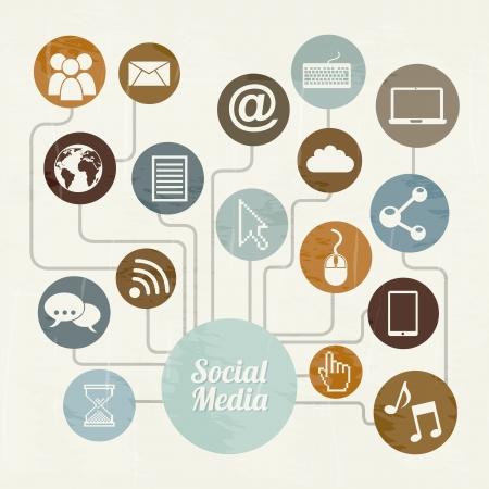 interaccion social: Vintage medios sociales sobre ilustraci�n de fondo de color beige