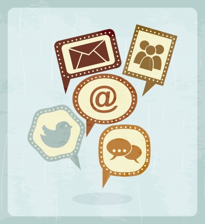 social media vintage over blue background illustration Vector