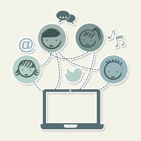 business discussion: Vintage medios sociales sobre ilustraci�n de fondo de color beige