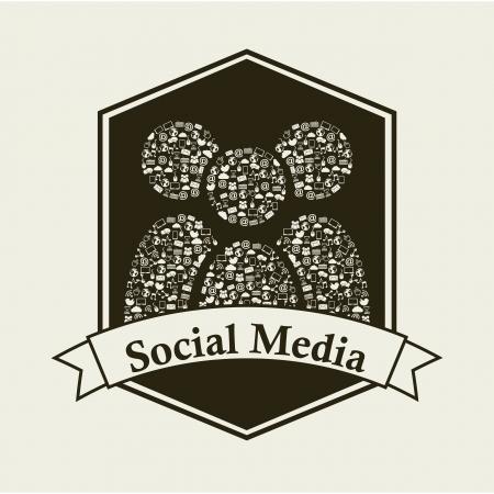 social media vintage over beige background illustration Stock Vector - 19307573