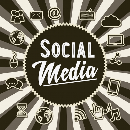 wireless connection: social media vintage background, old style illustration