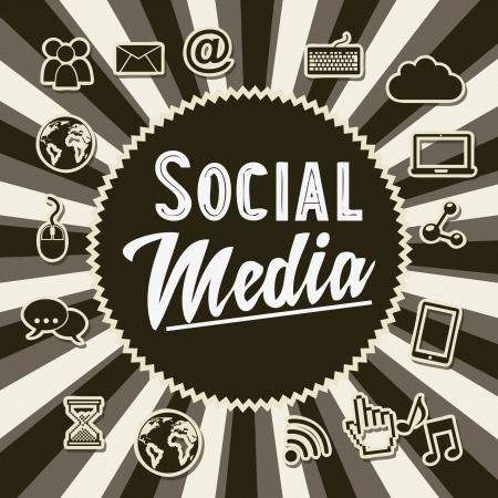global connection: social media vintage background, old style illustration