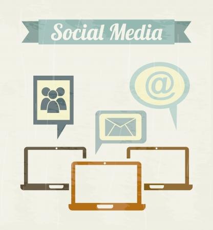social media vintage over beige background illustration Illustration