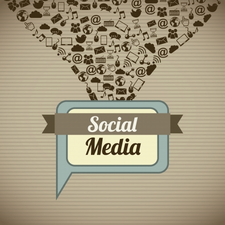pc icon: social media vintage over brown background illustration Illustration