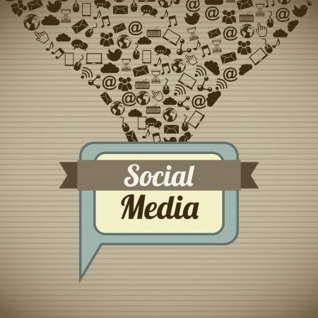 interaccion social: Vintage medios sociales sobre fondo marr�n ilustraci�n