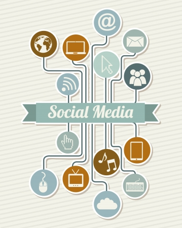 media icons: social media vintage over beige background illustration Illustration