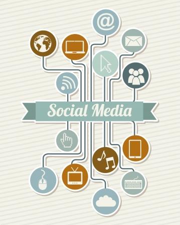 social media vintage over beige background illustration Stock Vector - 19306645