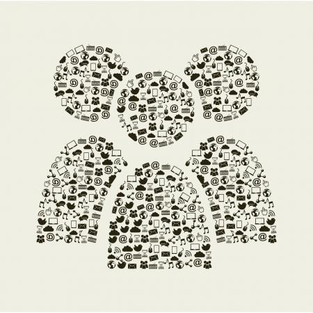 social media vintage over beige background illustration Stock Vector - 19307453