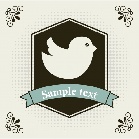 bird icon over label background illustration Vector