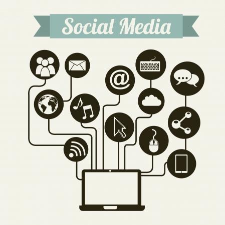 social media vintage over beige background illustration Stock Vector - 19306644