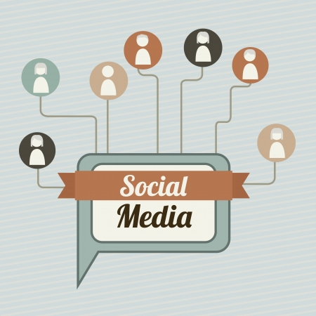 social media illustration, vintage style background Vector