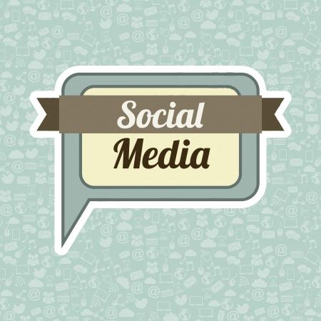 social media concept: social media vintage over blue background illustration Illustration