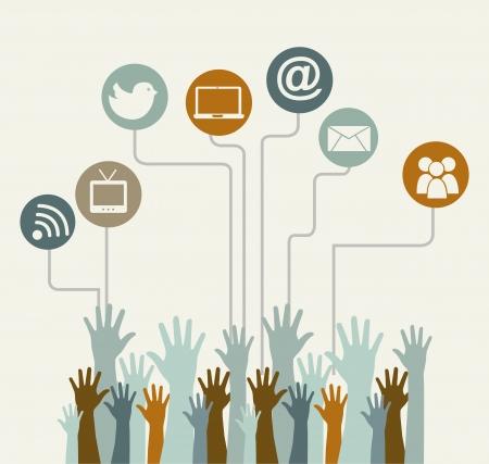 kommunikation: sociala medier årgång över beige bakgrund bild
