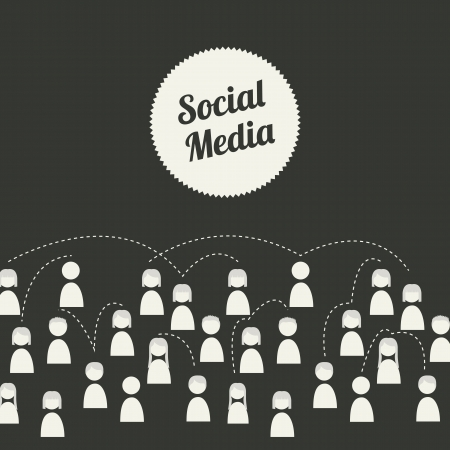 social media illustration over black background. Vector