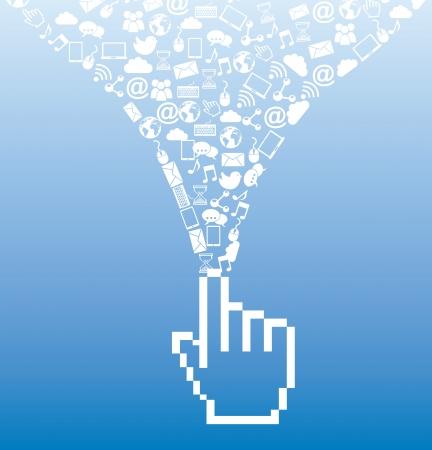 social media over blue background illustration Stock Vector - 19307229