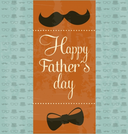 fathers day background: fathers day card, retro style illustration Illustration