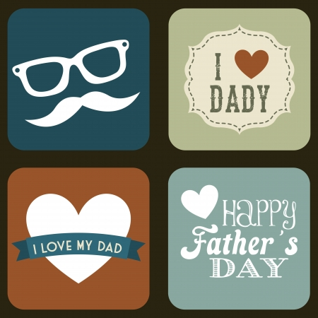 happy fathers day card: fathers day card, retro style illustration Illustration