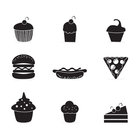Cake  & Cupcakes icons ( concepts, labels, & cards) Illustration