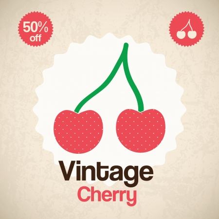 Vintage Cherry, ( for poster, card & print). Vector Illustration Illustration