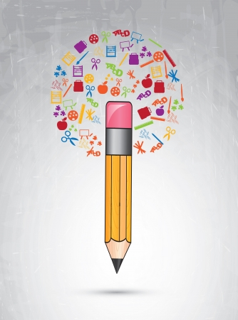 Back to school icons over gray background vector illustration  Vector