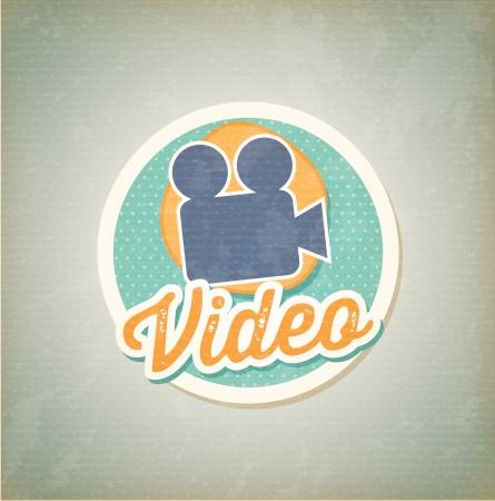 videofilm: Video Kamera �ber Vintage Hintergrund Vektor-Illustration Illustration