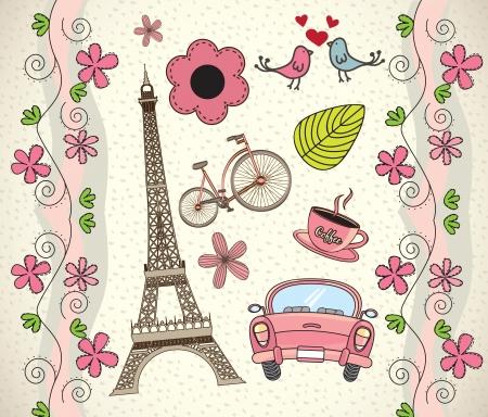 paris vintage: Amor Par�s de fondo con diferentes iconos ilustraci�n vectorial