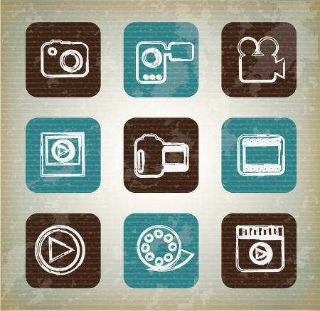 Cinema icons over vintage background vector illustration Vector