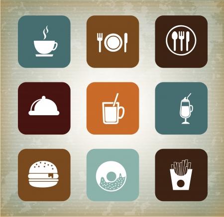 dining tables: Menu icons over vintage background vector illustration Illustration