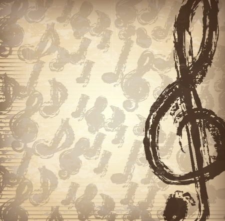 Musical note over vintage background vector illustration Vector