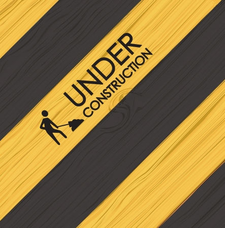 Under construction line over yellow and black background vector illustration Vector
