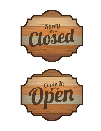 Closed and Open label over white background vector illustration  Vector
