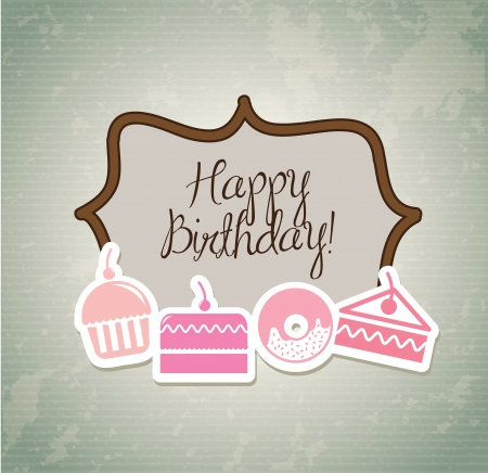 Happy Birthday over vintage background with cup cakes Vector