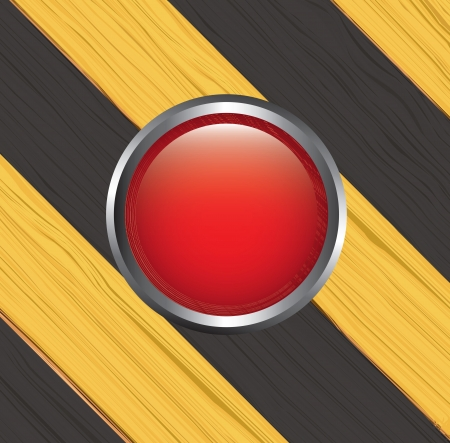 Caution lines over yellow and black background with red button vector illustration Stock Vector - 19463092