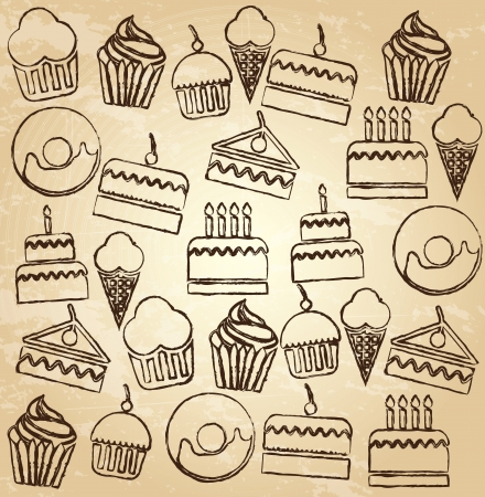Desserts icons over brown background vector illustration Vector
