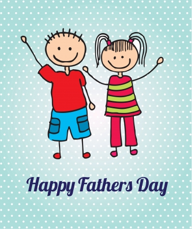 mixed family: Happy Fathers day card with two childrens vector illustration