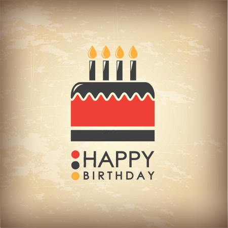 birthday food: Happpy Birthday card over vintage background  vector illustration Illustration