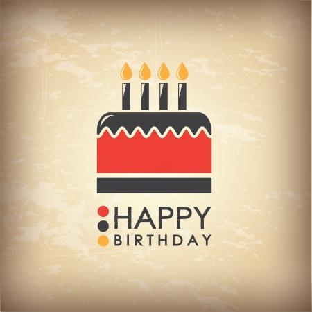 torta candeline: Scheda di compleanno happpy su sfondo vintage illustrazione vettoriale