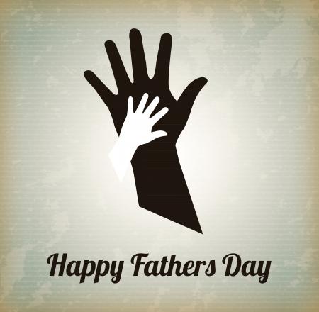 day care: Happy Fathers giorno con due mani su sfondo vintage Vettoriali