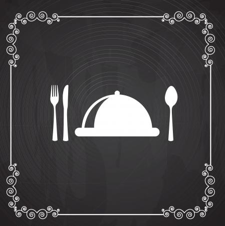 Icone di menu su sfondo nero illustrazione vettoriale