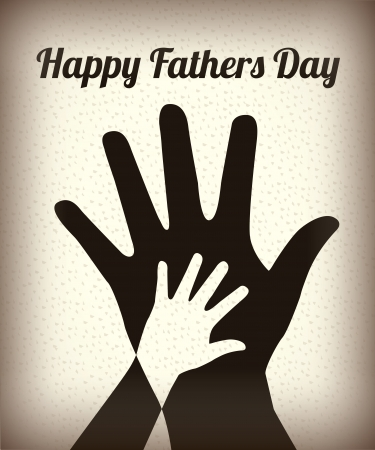 Happy Fathers day with two hands over vintage background Illustration