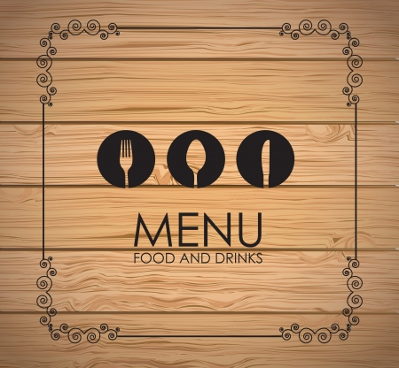 banquet table: Cutlery icons over wooden background vector illustration