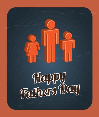 mixed family: Happy Fathers day card with offspring  vector illustration