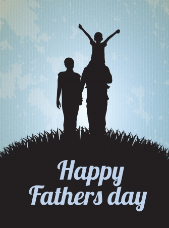 mixed family: Happy Fathers day card with family vector illustration