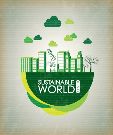 Sustainable world over vintage background vector illustration Vector
