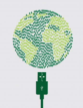 Sustainable icons with usb over white background vector illustration Vector